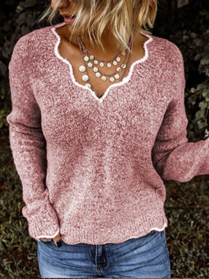 Solid colors knit pullover with V-neck