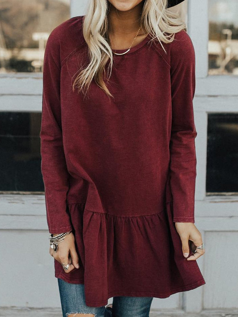 Red Cotton-Blend Long Sleeve Solid plus size Shirts & Tops