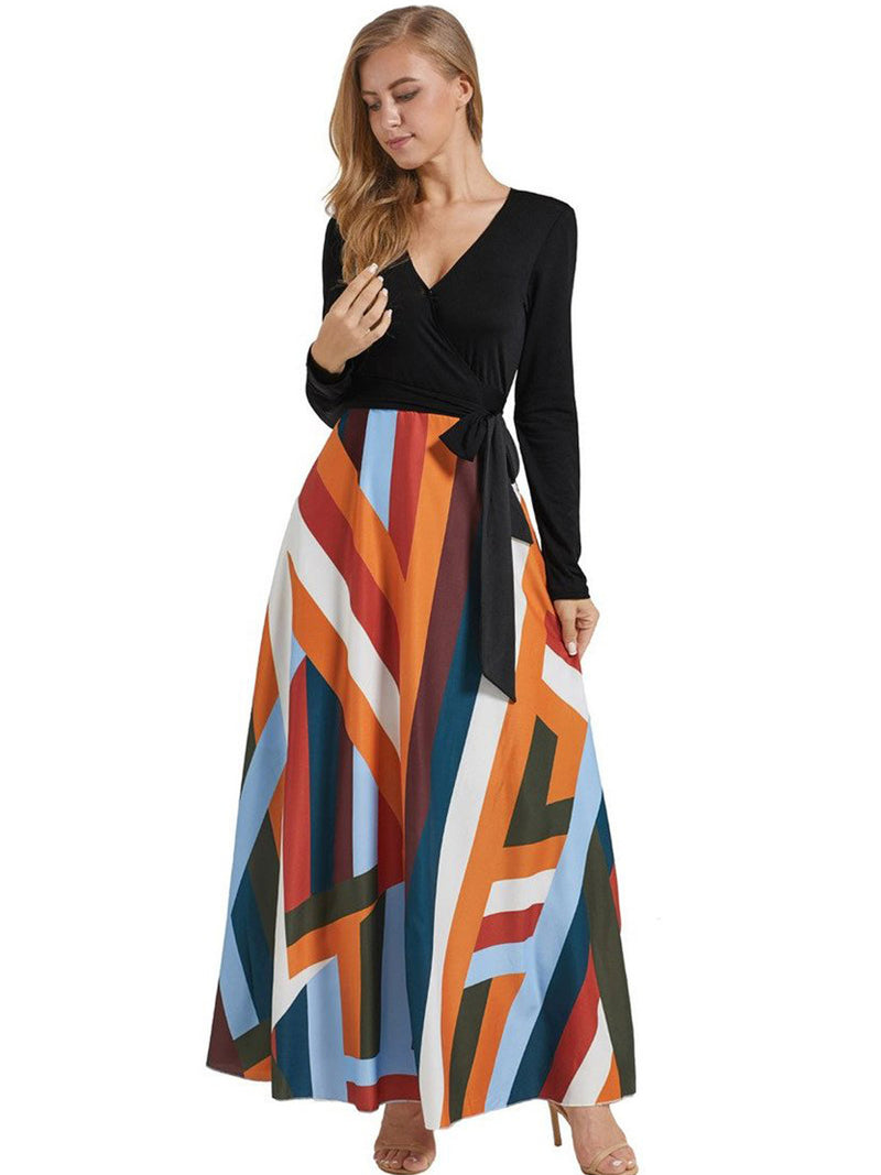 cheap for sale buy best finest selection Solid Top Geometrical Print Bottom Pocket Swing Maxi Dress