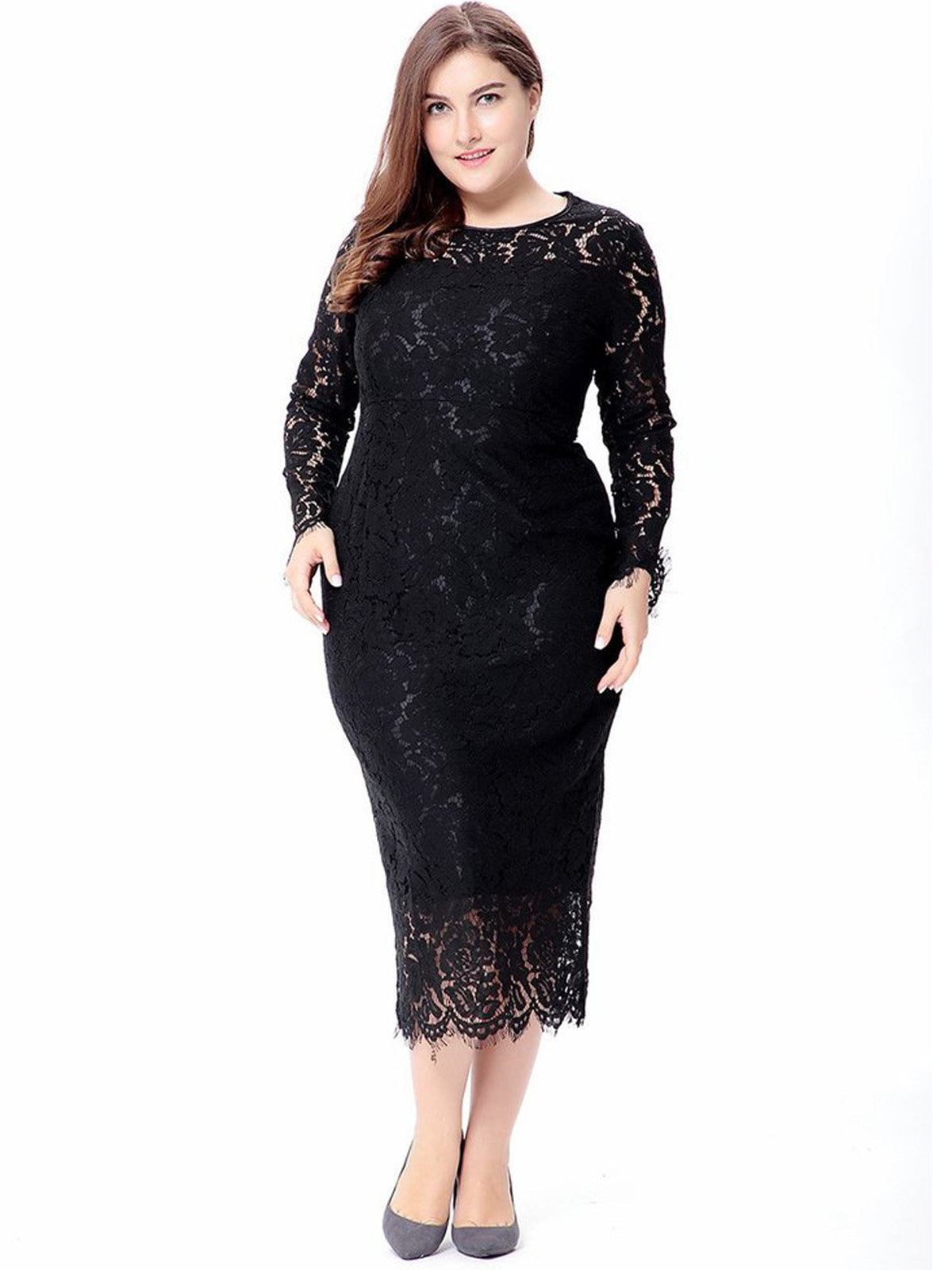 Elegant Lace All Over Sheath Plus Size Middle Calf Length Dress ...