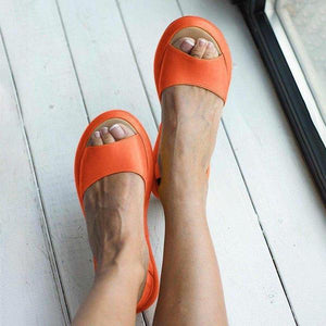 Women Fashion Footbed Peep Toe Slip On Sandals