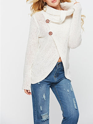 Scarf Collar Wrap Hem Solid Long Sleeve Sweater