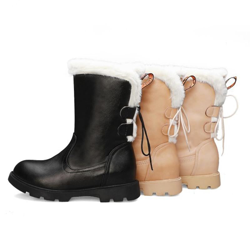 Low Heel Womens Snow Boots Slip On Faux Fur Lining Boots