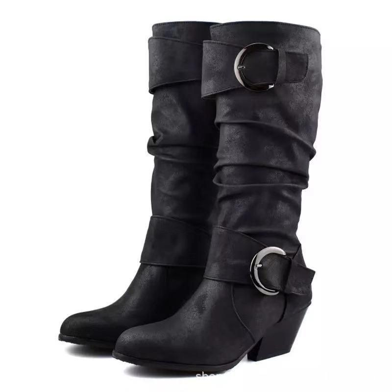 Winter Chunky Heel Adjustable Buckle Long Boots