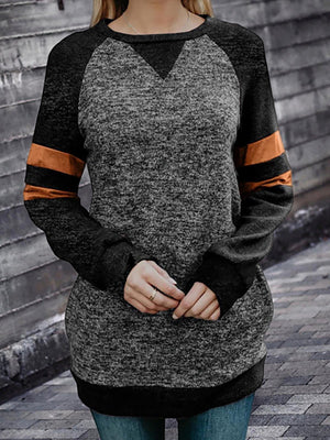Color Block Crew Neck Long Sleeve Shirts