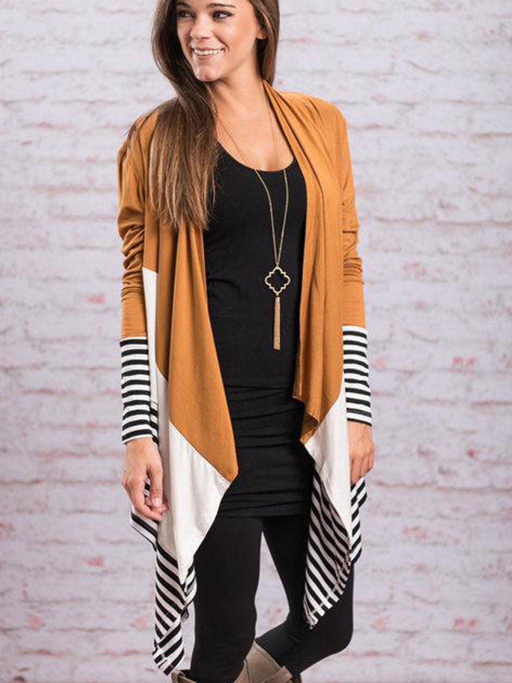 Stripe Contrast Color Knee Length Knit Cardigan