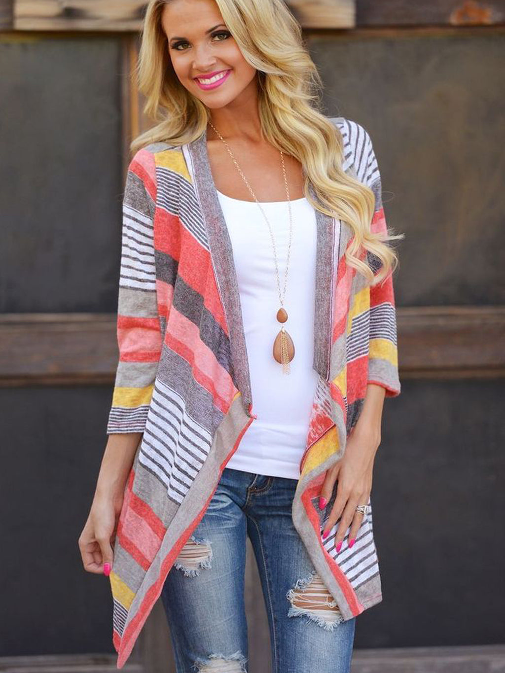 Casual Stripe Knit Cardigan