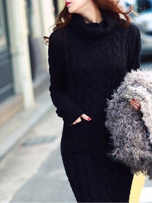 Turtle Neck Mid-calf Length Slim Sweater Dress
