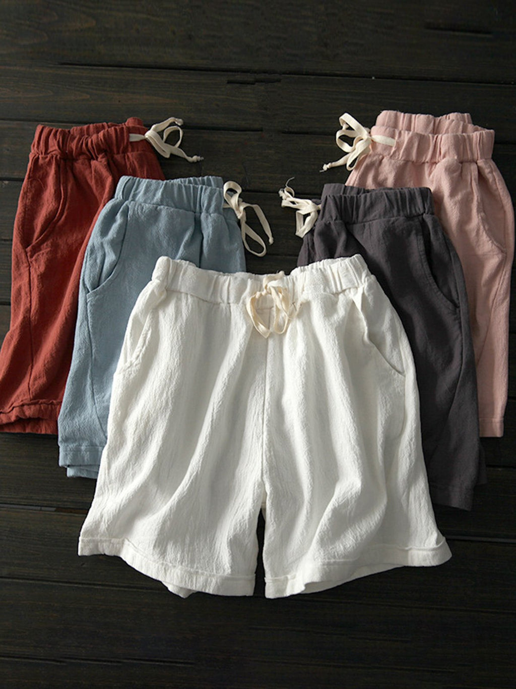 Women Summer Wide-cuff Adjustable Waist Linen/Cotton Shorts