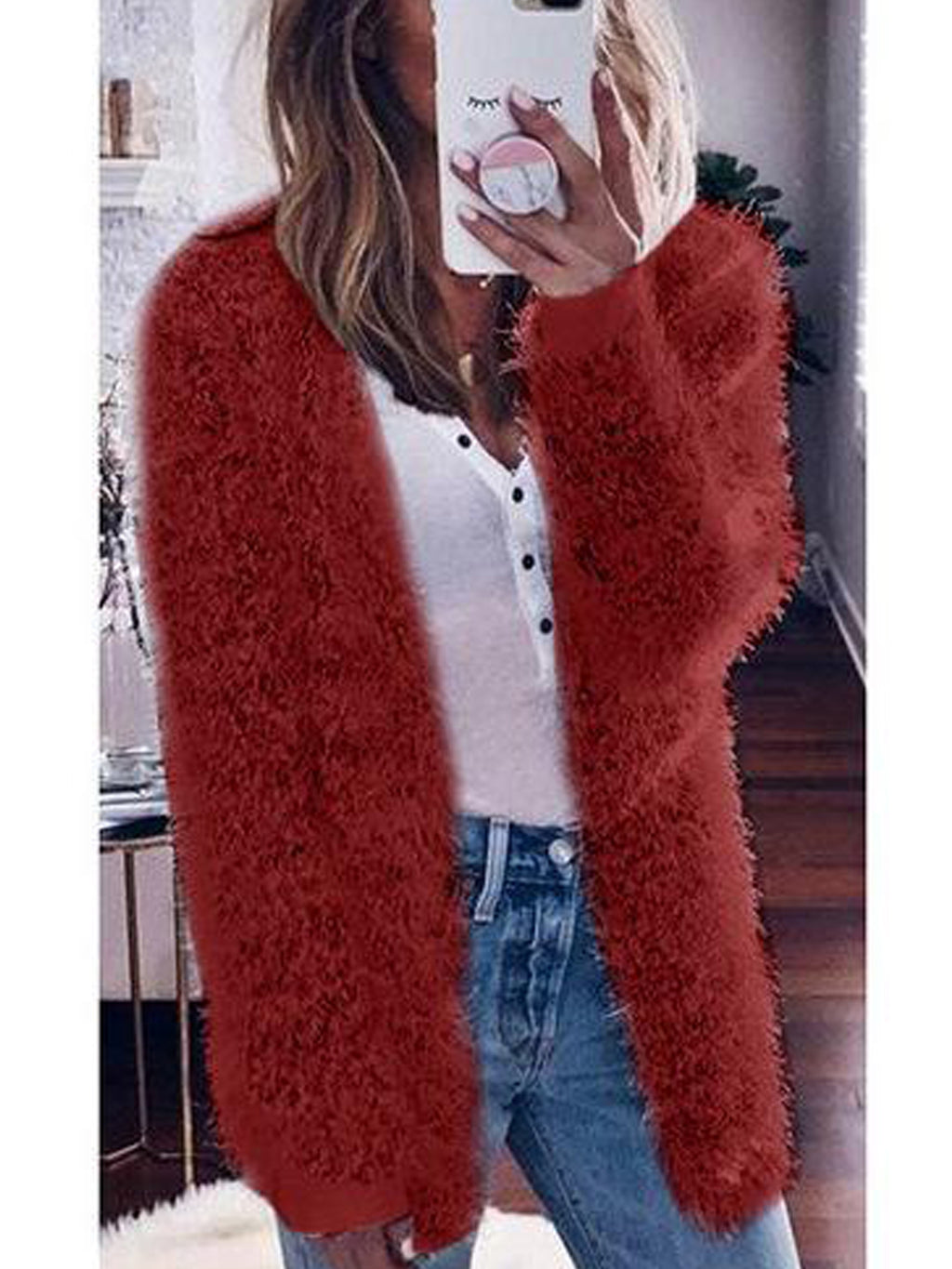 Autumn and Winter Loose Long-sleeved Fluff Cardigan