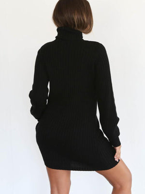 Warm Knitting High Collar Slim Fit Bottoming Mini Knitting Fall Dress