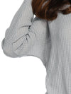 Knitted Irregular Solid Color Button Knotted Long Sleeve Blouse