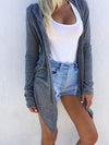 Gray Long Sleeve Cotton Solid Hoodie Cardigan