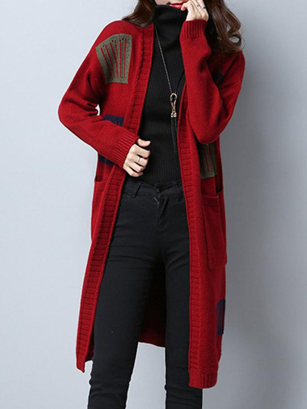 Patchwork Pockets Long Sleeve Plus Size Cardigans