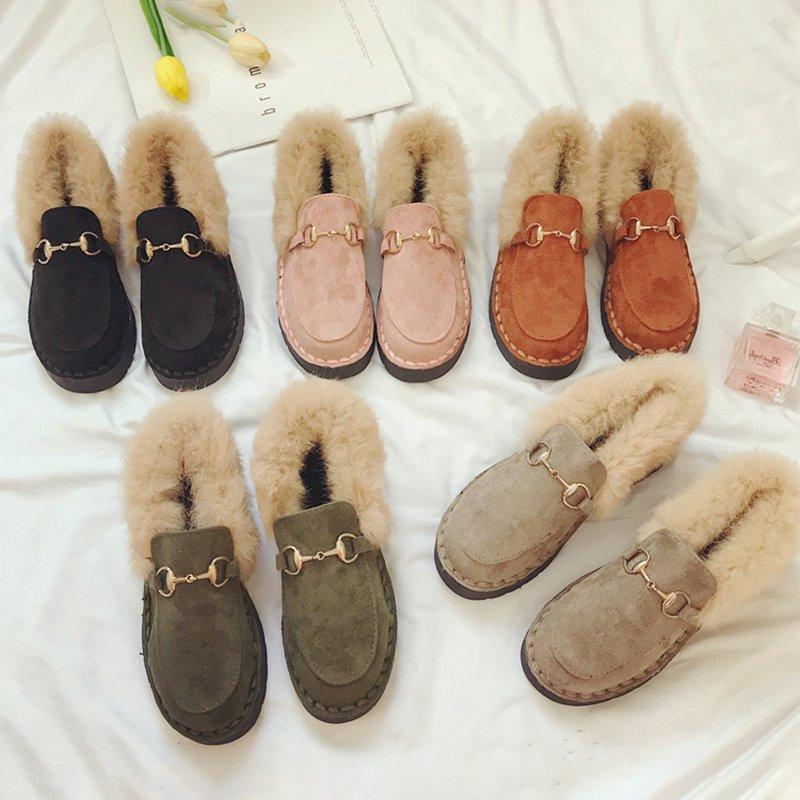 Comfortable Women Fur Snow Slip On Loafers Casual Shoes