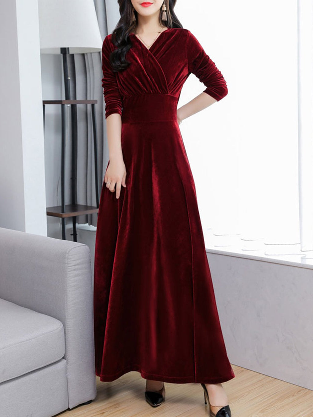 Surplice Neck Women Dresses Swing Elegant Maxi Dresses