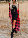 Plaid Print Ankle-length Cardigan