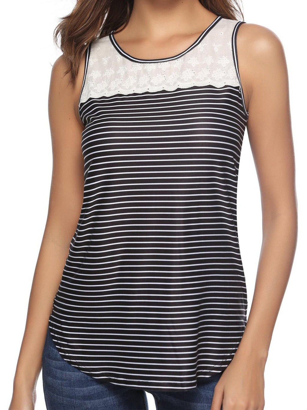 Stripe Round Neck Sleeveless Camis
