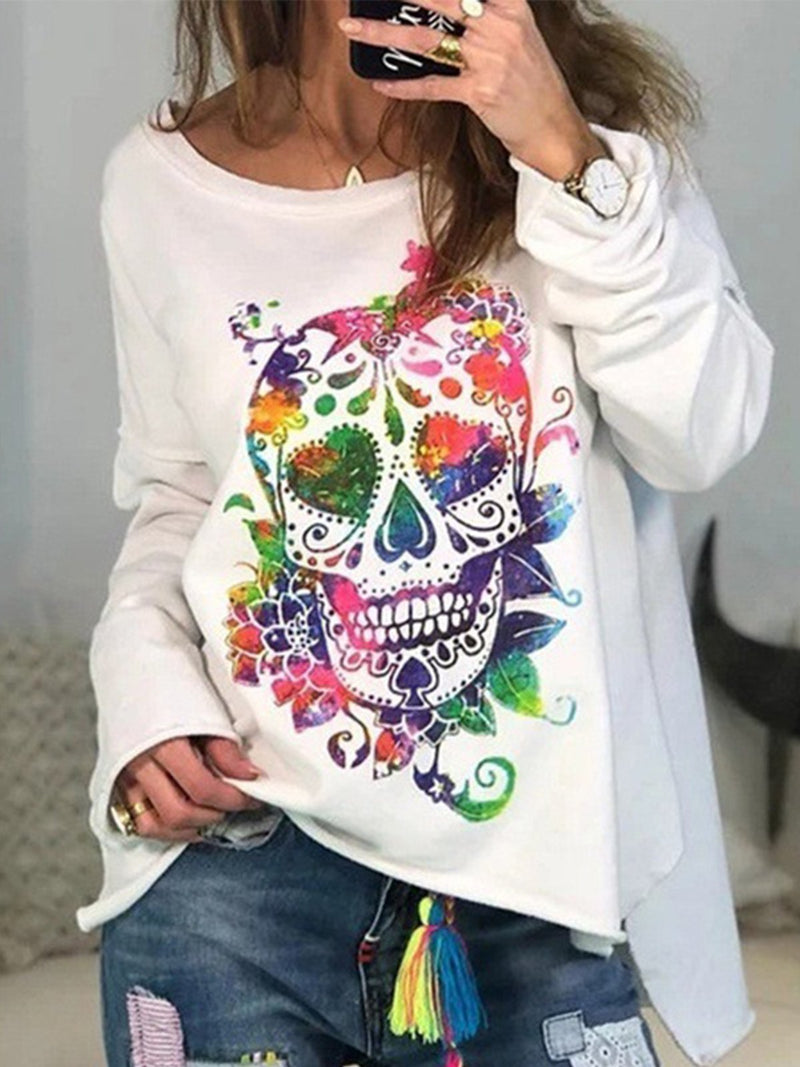 Colored Skeleton Print Round Neck Plus Size Hollow Style Sweatshirt