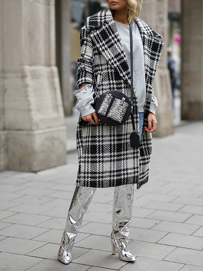Lapel Neck Plaid Long Coats