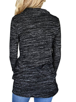 Cowl Neck Pockets Long Sleeve Loose Shirts