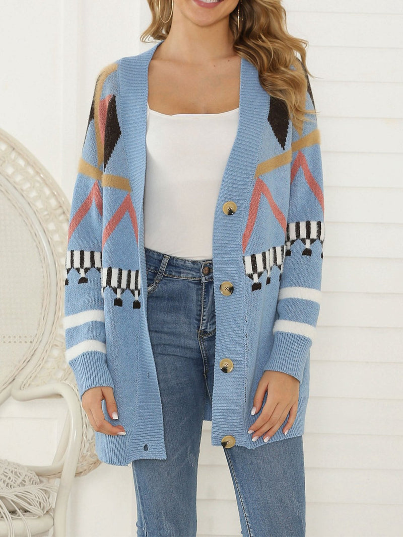 Printed Single-breasted Long Sleeve Cardigans