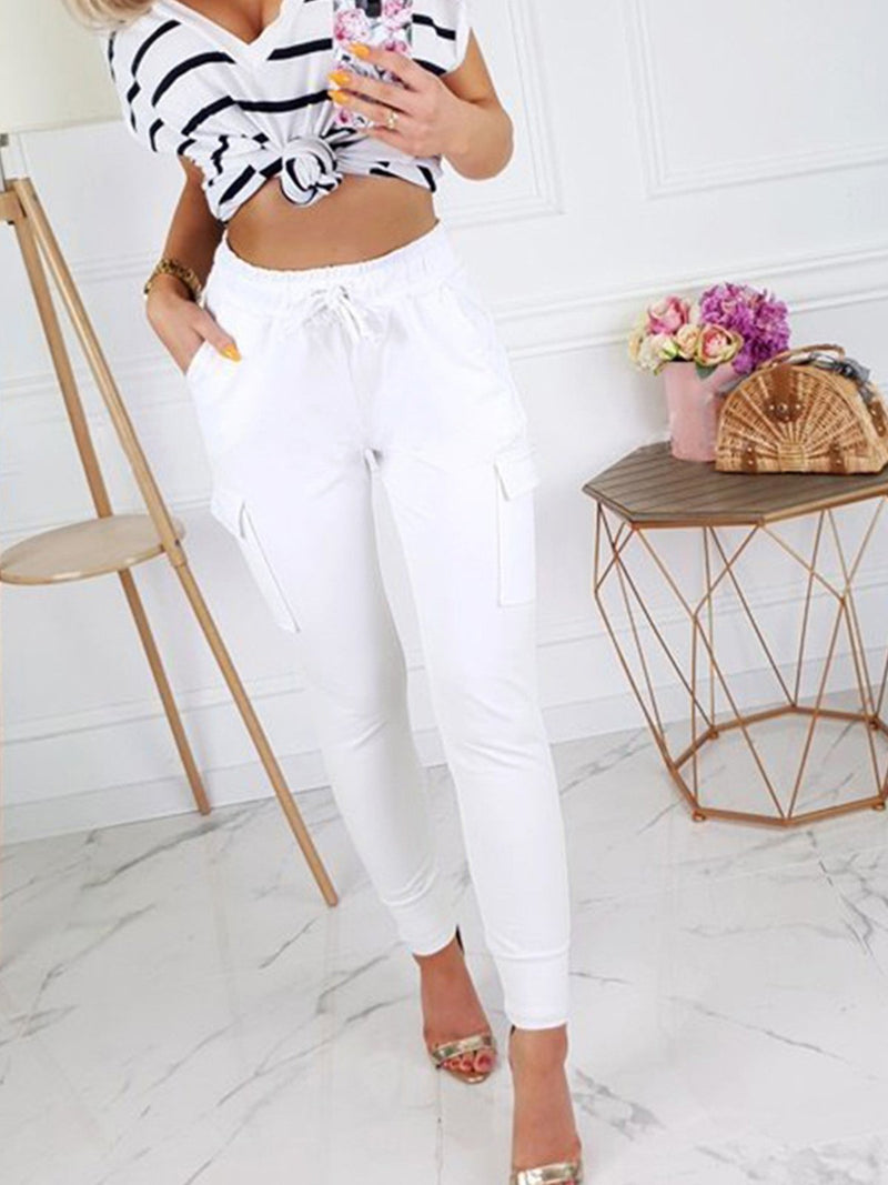 Slim High Waist Cargo Pants