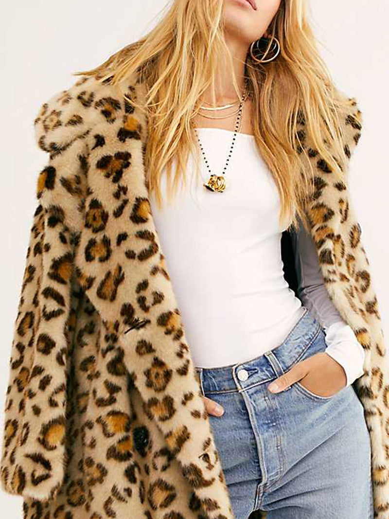 Leopard Pattern Warm Lapel Coat