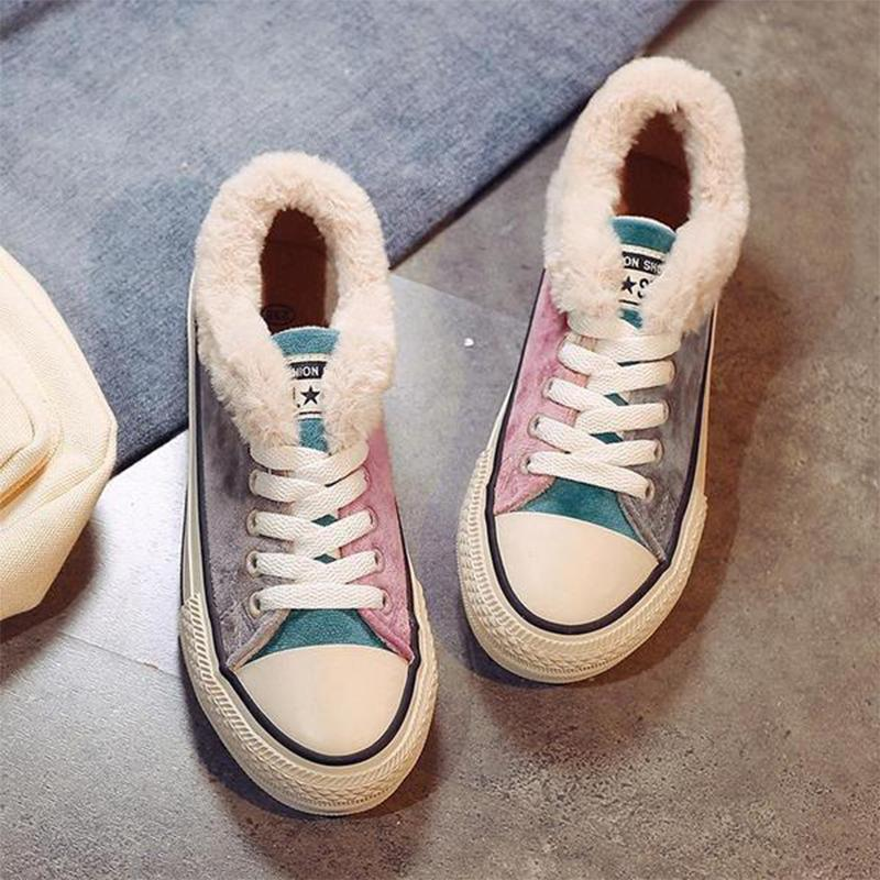 Womens Colorful FLocking Flat Heel Sneaker Shoes