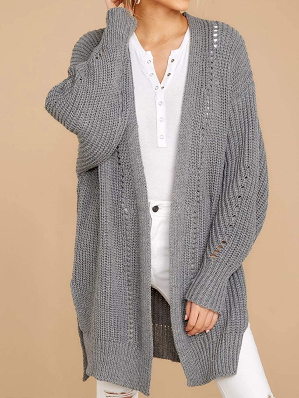 Solid Hollow Sweater Knit Cardigan With Large Size