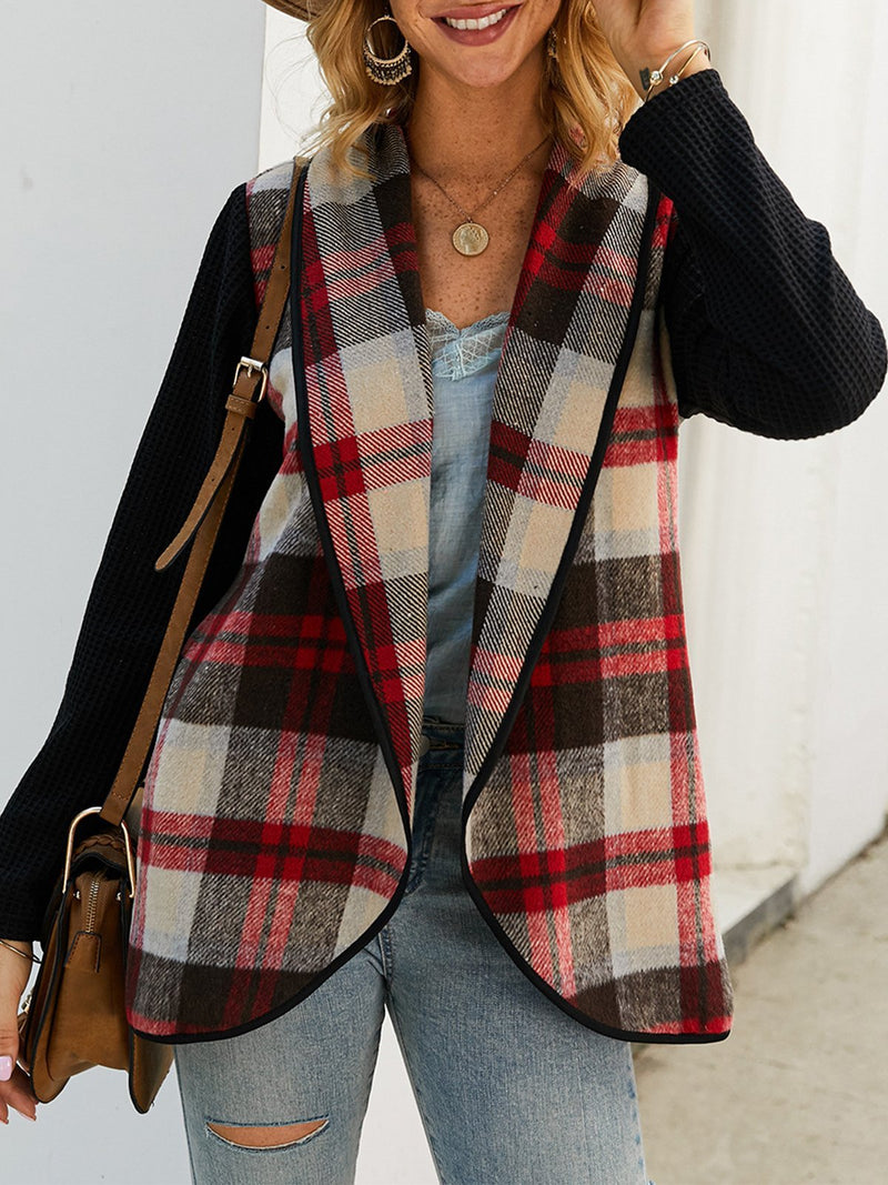 Plaid Stitching Long Sleeves Lapel Coat