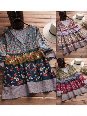 Color Block Floral Print V Collar Vintage Tee-Dress