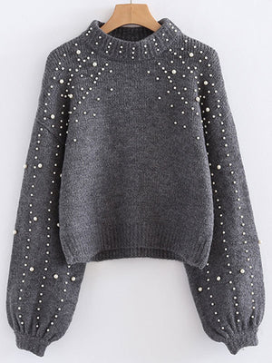 Round Neck Loose Short Pearl Decorative Sweater