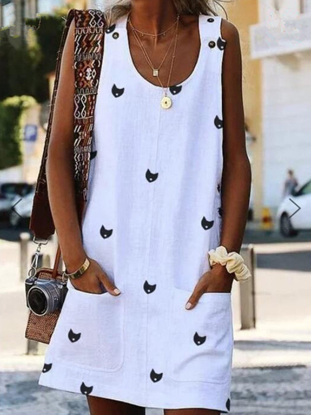 Crew Neck Kitten Print Cami Dresses