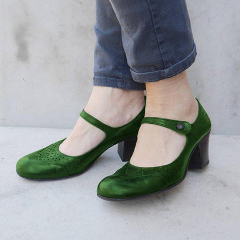Chunky Heel Mary Jane Shoes Hollow-out Summer Shoes
