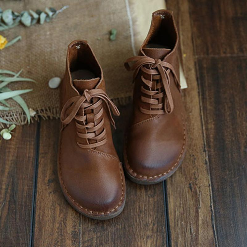 Retro Soft Lace Up Boots