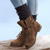 Lace-Up Low Heel Suede Womens Casual Short Boots