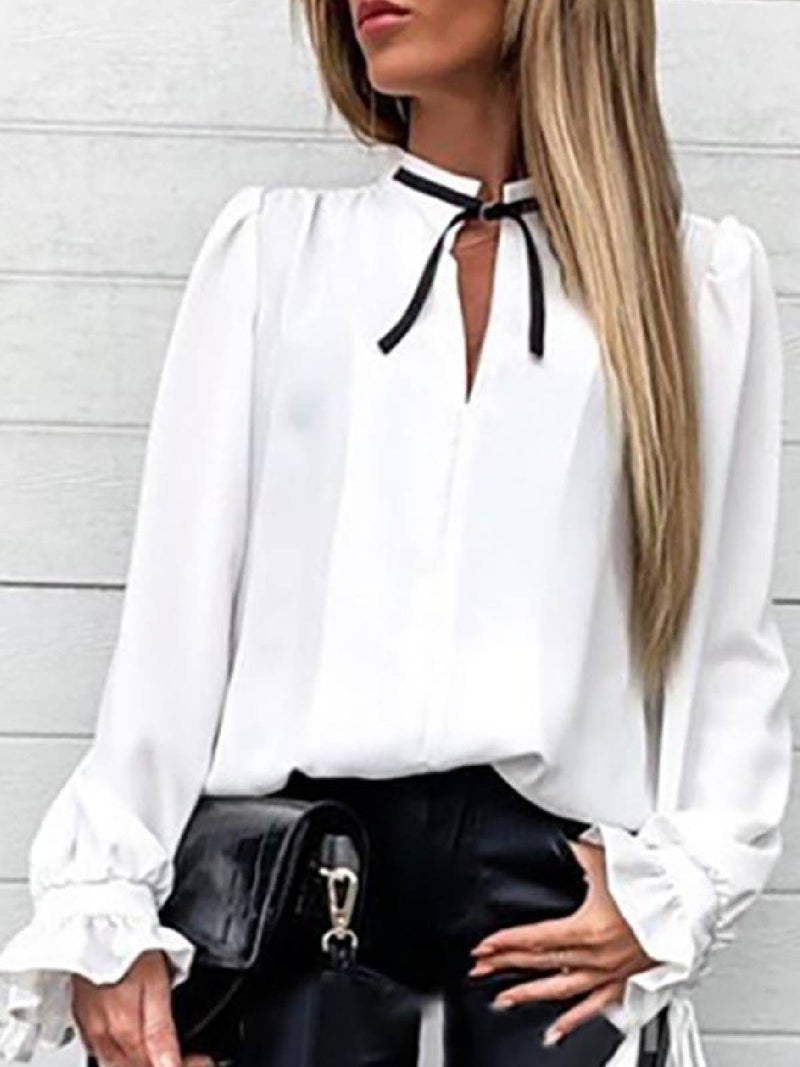 Stand-up Collar Casual Solid Blouses with Ruffles