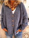 Solid Buttoned Casual Sweater Cardigan Coat