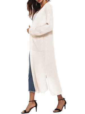 Women's Long Open Front Maxi Duster Cardigans Long Sleeve Cardigan Sweaters with Pockets