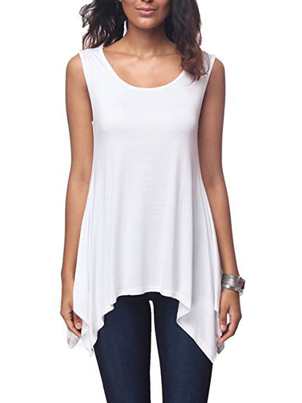 Solid Round Neck Sleeveless Modal Tank Top