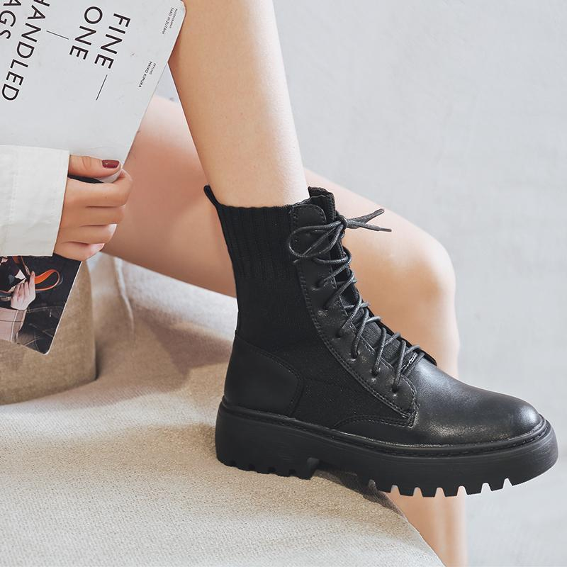 Chic Black Lace-up Martin Boots