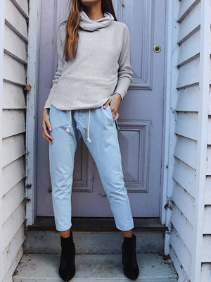 Casual High-necked Stalked Woolen Sweater
