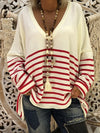 Loose Round Neck Print Stitching Long Sleeve Striped Shirt