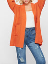 Orange Solid Cardigan Long Sleeve Pocket Coat