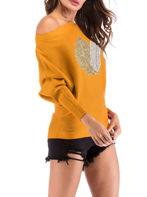 Feather Hot Drilling Long Sleeve Round Neck Shirt