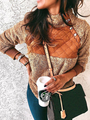 Patchwork Long Sleeve Casual Turtleneck Tops