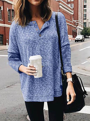 Solid Round Collar Long Sleeve T-Shirt