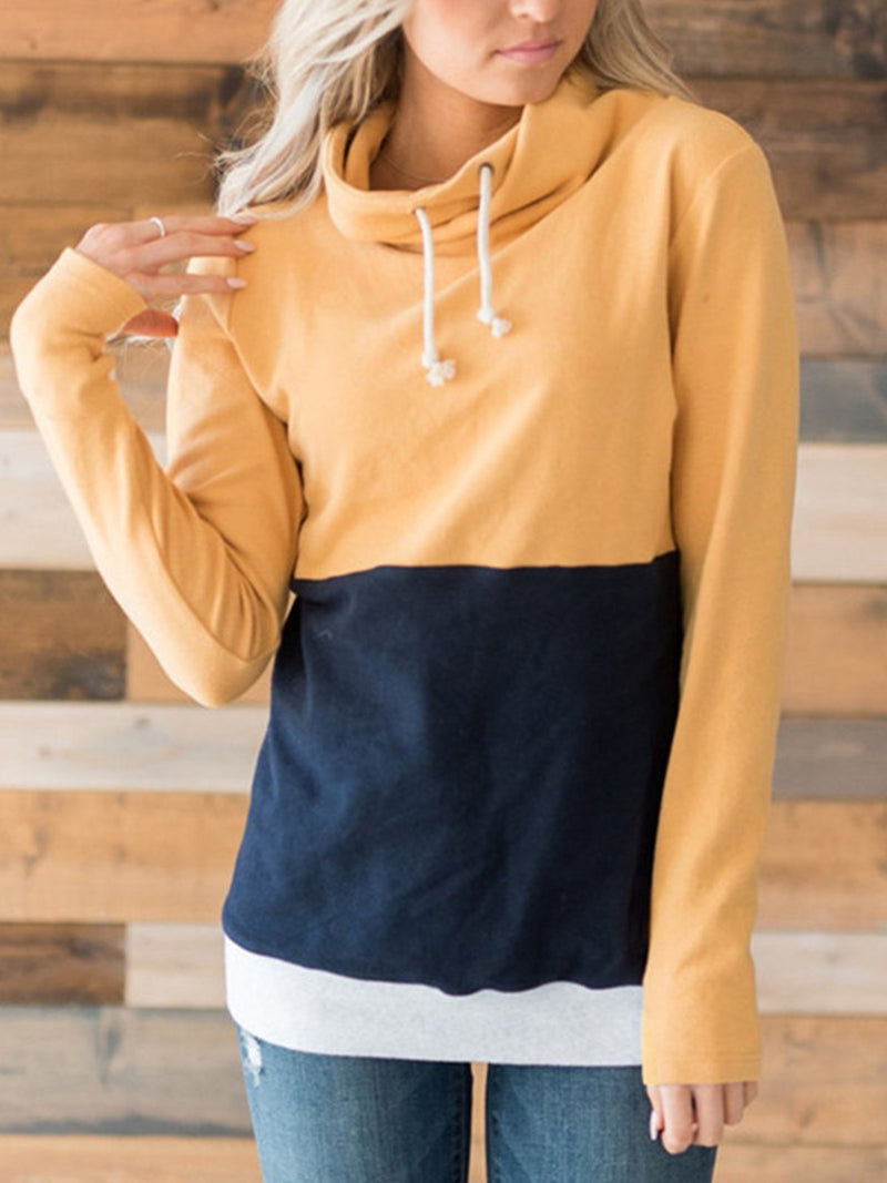 Casual Vocation Color Blend  Drawstring Hoodies Shirt
