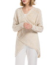 Wrap Front V collar Knit Pullover Top